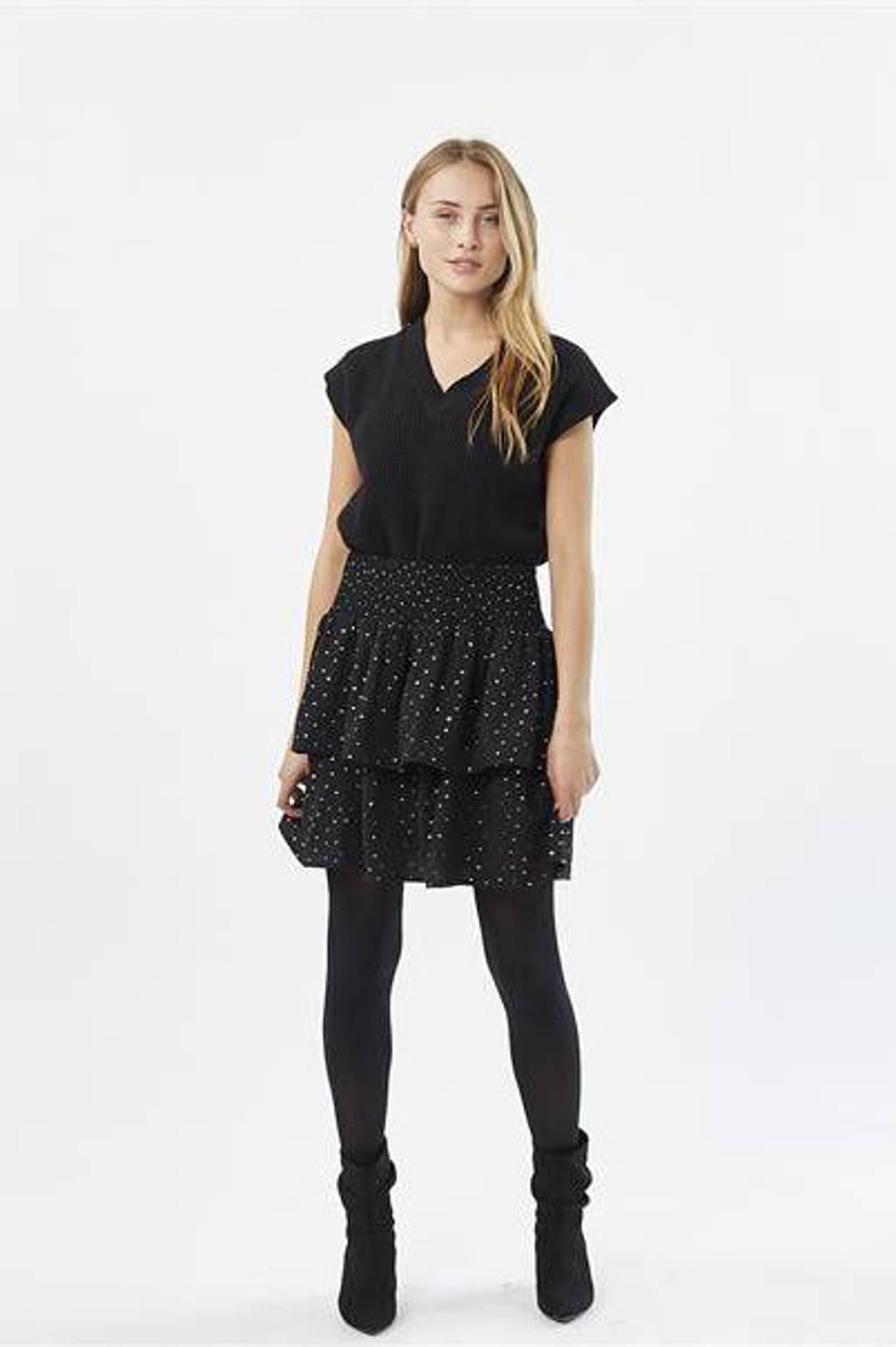 Moves rok Elisse met stippen zwart, Zwart