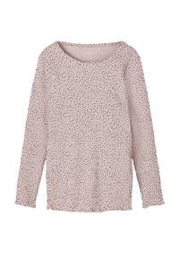 NAME IT MINI top Thurid met all over print roze/zwart, Roze/zwart