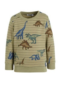 NAME IT MINI sweater Thues met dierenprint lichtgroen/blauw, Lichtgroen/blauw