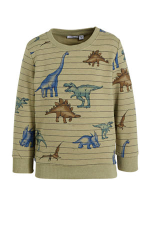 sweater Thues met dierenprint lichtgroen/blauw