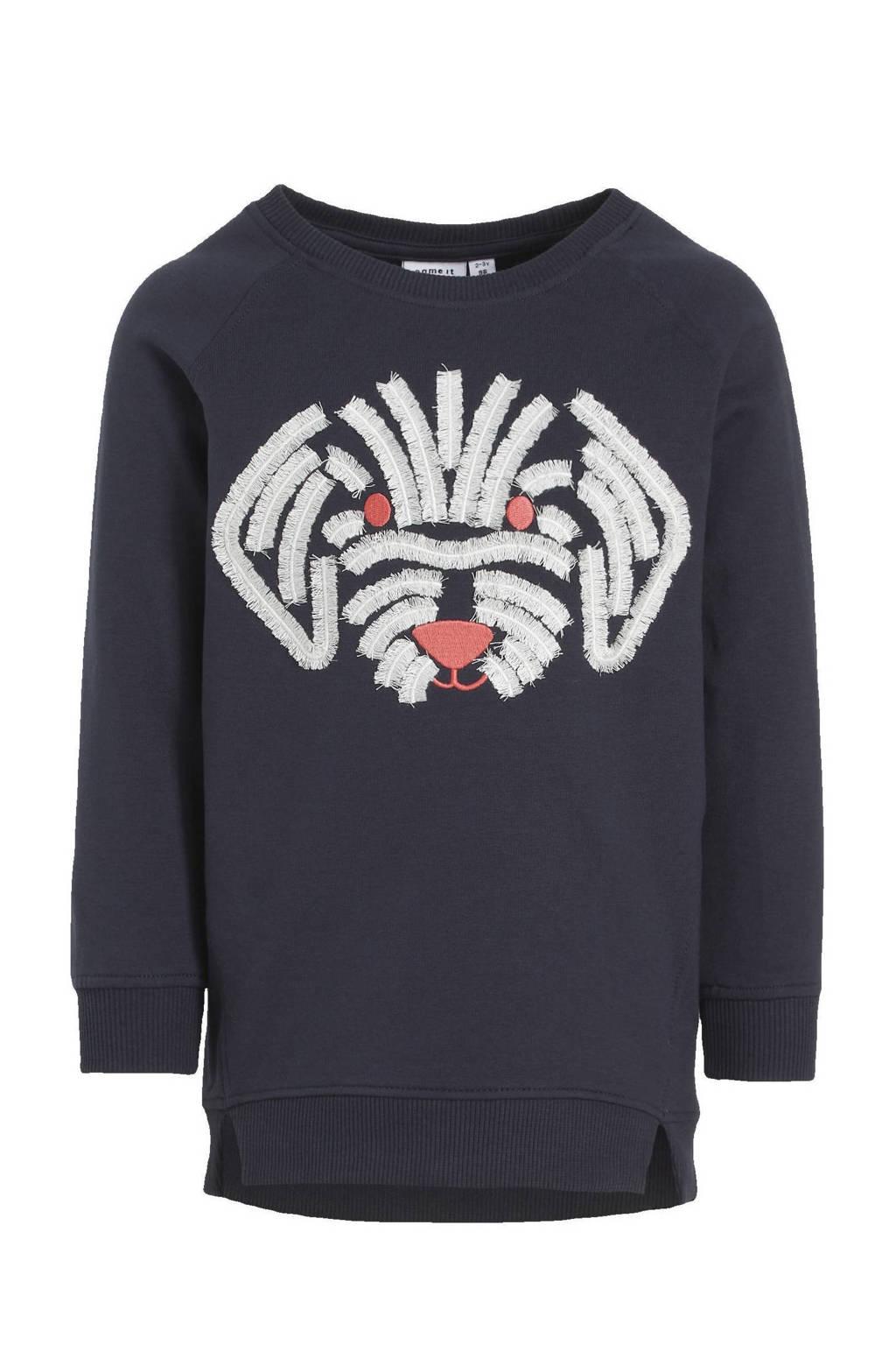 NAME IT MINI trui Tolli met biologisch katoen donkerblauw/wit/rood, Donkerblauw/wit/rood