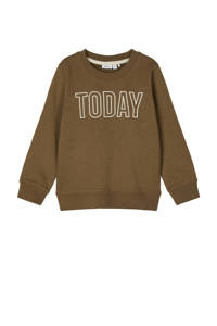 NAME IT MINI sweater Tanto van biologisch katoen bruin/wit, Bruin/wit