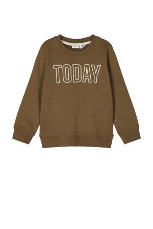 sweater Tanto van biologisch katoen bruin/wit