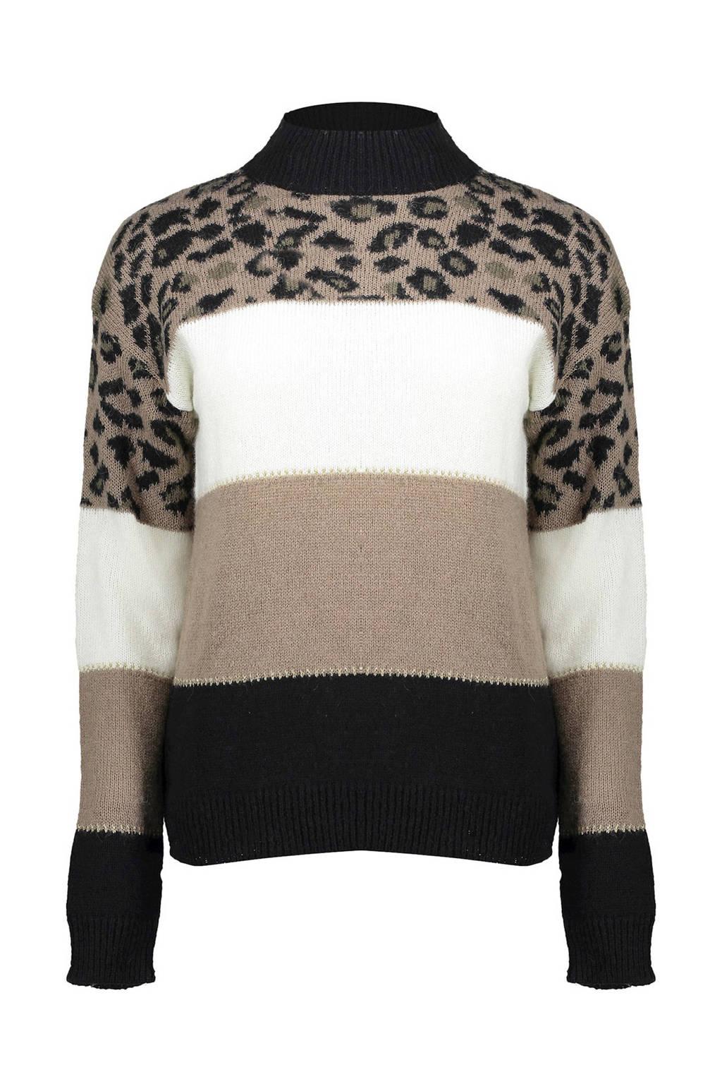 Geisha fijngebreide trui met wol beige/zwart/wit, Beige/zwart/wit