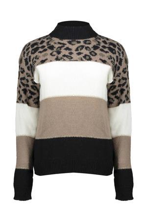 fijngebreide trui met wol beige/zwart/wit