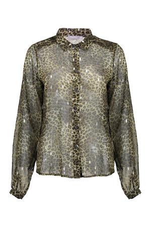 semi-transparante blouse met panterprint en glitters donkergroen/bruin/zilver