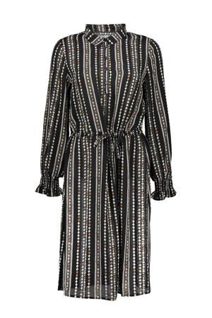 semi-transparante blousejurk met all over print en volant zwart/wit/beige