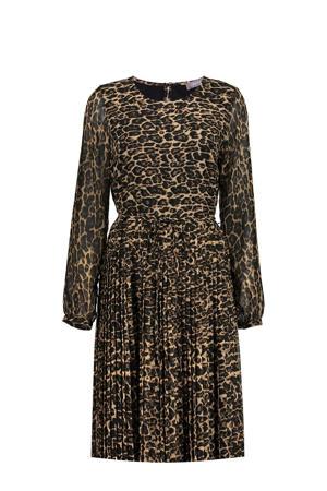 semi-transparante jurk met panterprint en ceintuur beige/zwart