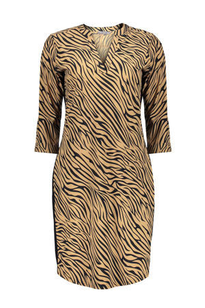 jurk met zebraprint en contrastbies zand/zwart