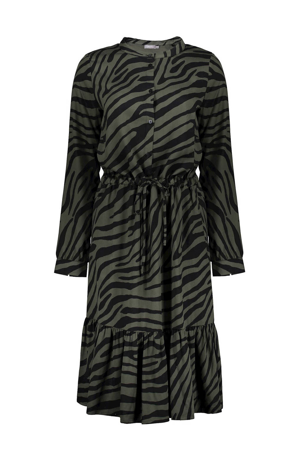 Geisha blousejurk met zebraprint en volant donkergroen/zwart, Donkergroen/zwart
