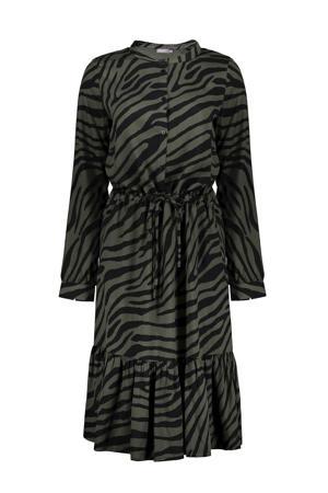 blousejurk met zebraprint en volant donkergroen/zwart