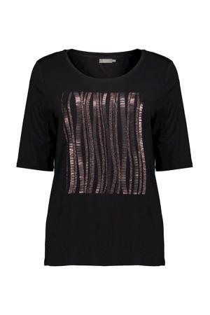 T-shirt met printopdruk en glitters zwart/roze