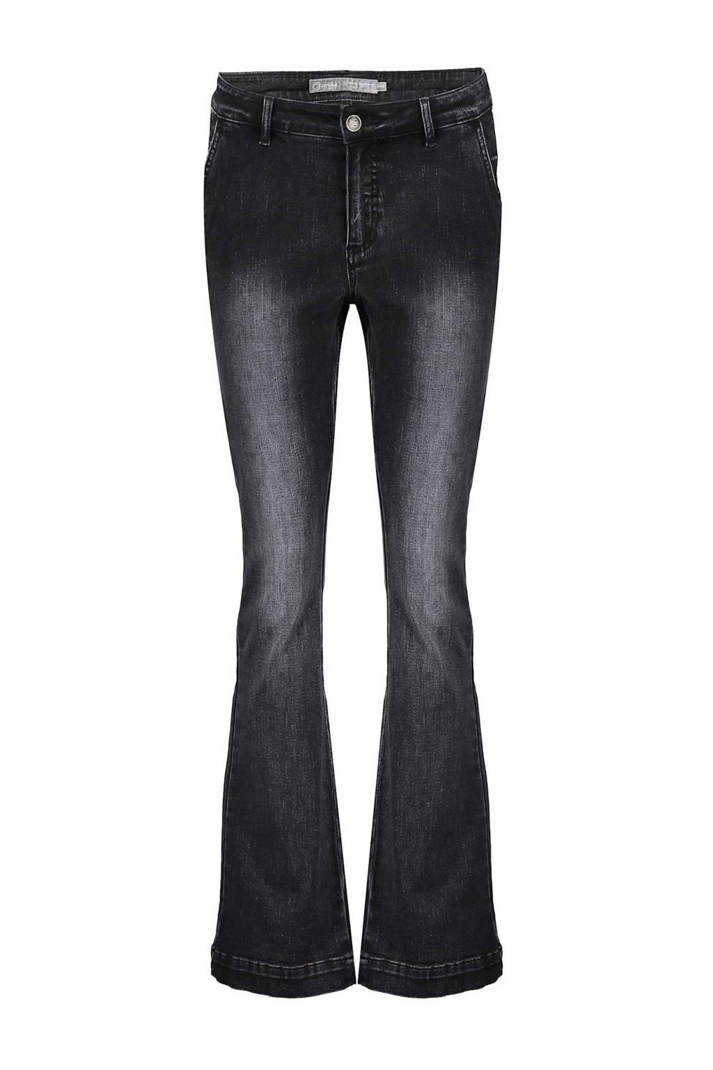 Geisha high waist flared jeans zwart bleached, Zwart bleached