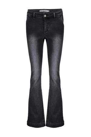 high waist flared jeans zwart bleached