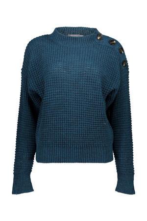 grofgebreide trui petrol/zwart