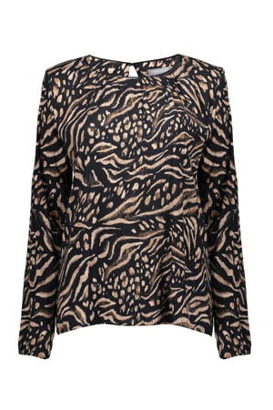 top met all over print en open detail zwart/bruin/beige