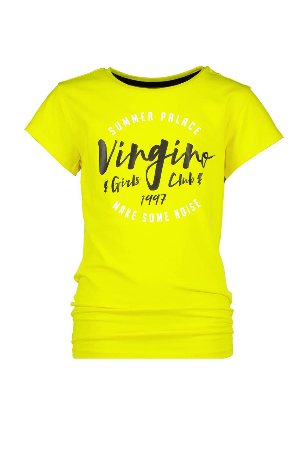 Vingino T-shirt Holli met logo fel geel, Fel geel