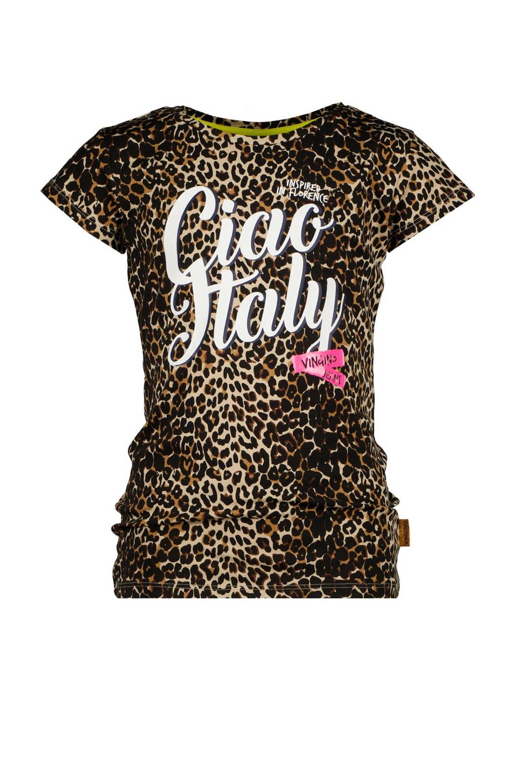 Vingino T-shirt Hilla met panterprint lichtbruin/bruin, Lichtbruin/bruin