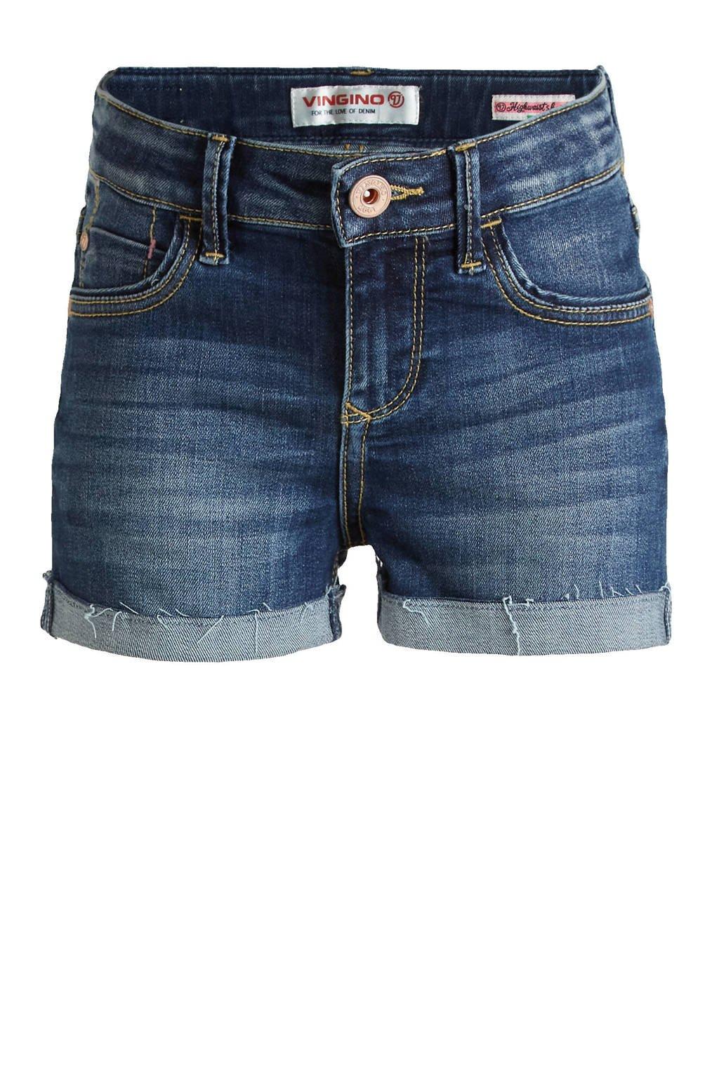 Vingino high waist slim fit jeans short Diona blue vintage