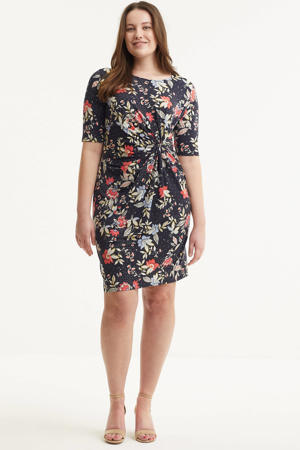 gebloemde jurk zwart/koraalrood/lichtblauw