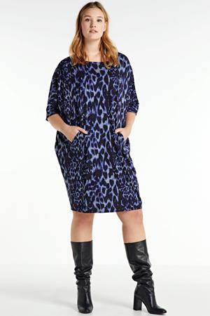 jurk met dierenprint zwart/donkerblauw/lichtblauw