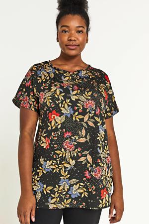 gebloemd T-shirt zwart/multi