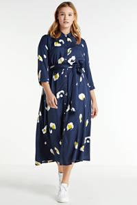 JD Williams semi-transparante maxi blousejurk met all over print en ceintuur donkerblauw/wit/geel, Donkerblauw/wit/geel