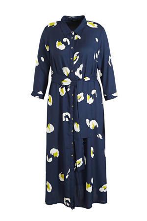semi-transparante maxi blousejurk met all over print en ceintuur donkerblauw/wit/geel