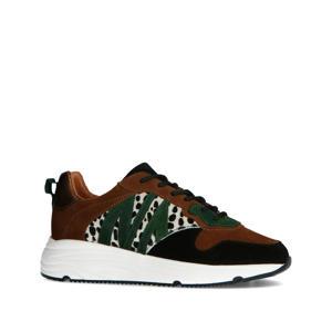 suède sneakers met cheetaprint cognac