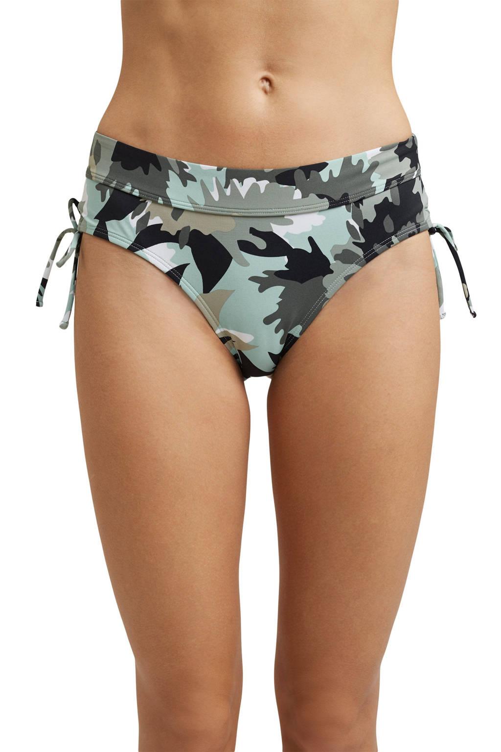ESPRIT Women Beach high waist bikinibroekje met all over print groen/zwrat, Groen/zwart