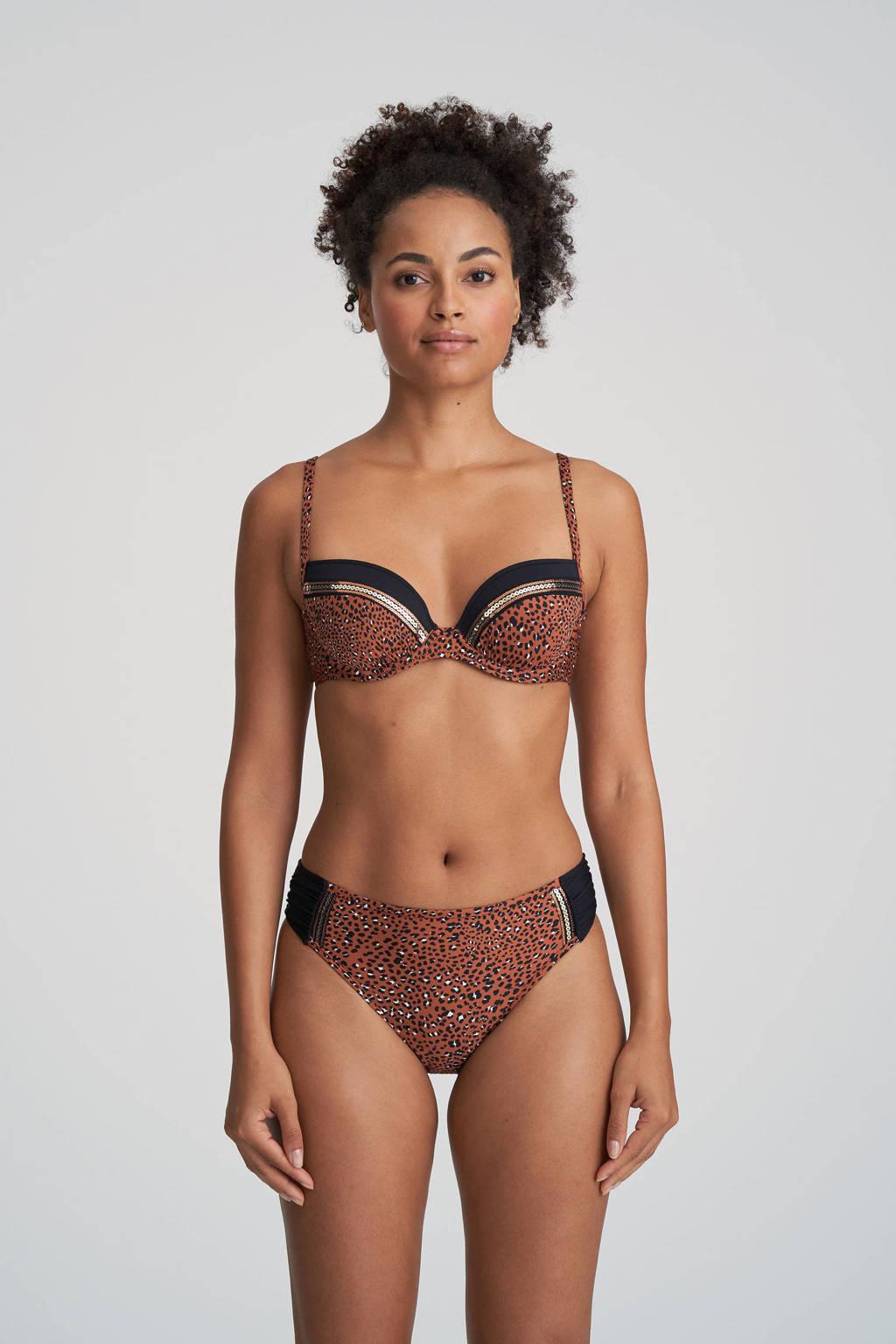Marie Jo bikinibroekje met panterprint Amanda brique/zwart, Brique/zwart