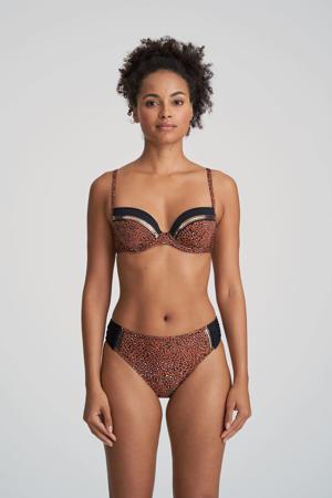 bikinibroekje met panterprint Amanda brique/zwart