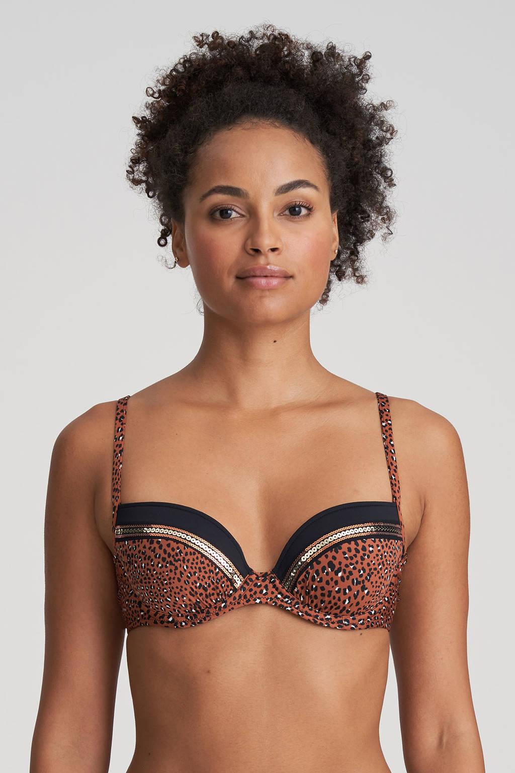 Marie Jo beugel bikinitop Amanda met panterprint en pailletten brique/zwart, Brique/zwart