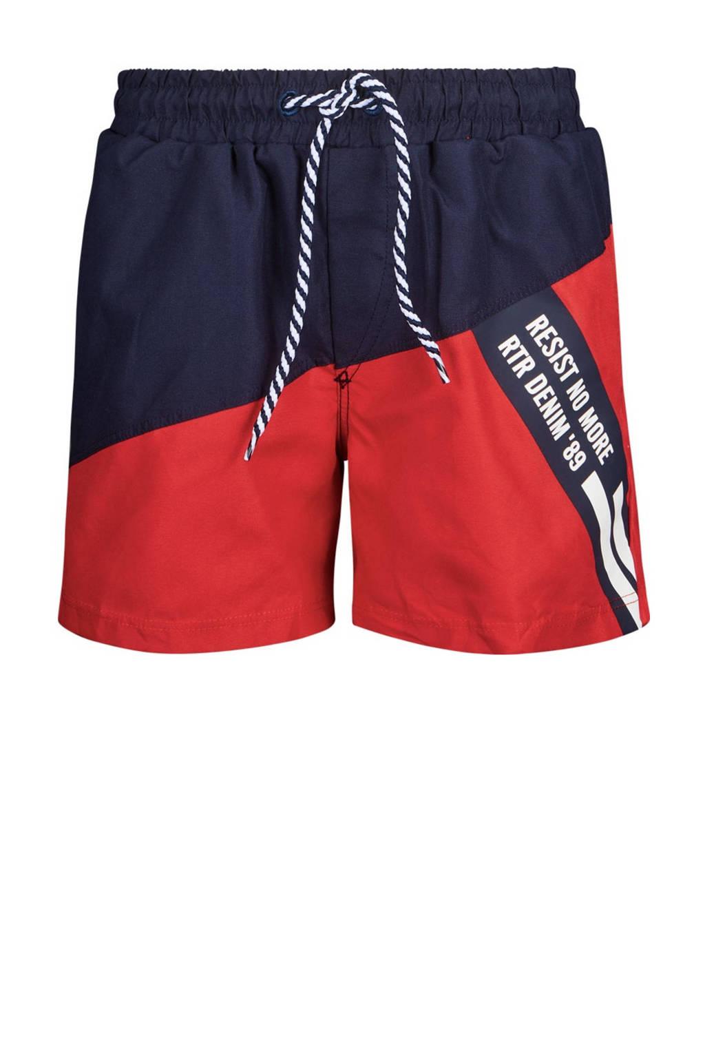 Retour Denim zwemshort Yuri rood/donkerblauw, Rood/donkerblauw