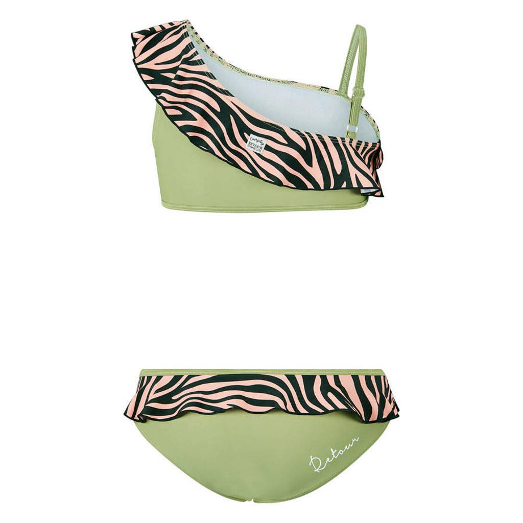 Retour Denim bandeau bikini Heather met ruches groen/roze/zwart, Groen/roze/zwart