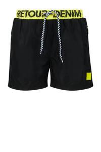 Retour Denim zwemshort Rider zwart, Zwart/geel