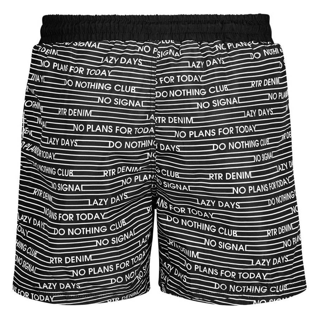 Retour Denim zwemshort Ricardo met all over print zwart/wit, Zwart/wit