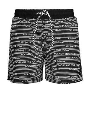 zwemshort Ricardo met all over print zwart/wit