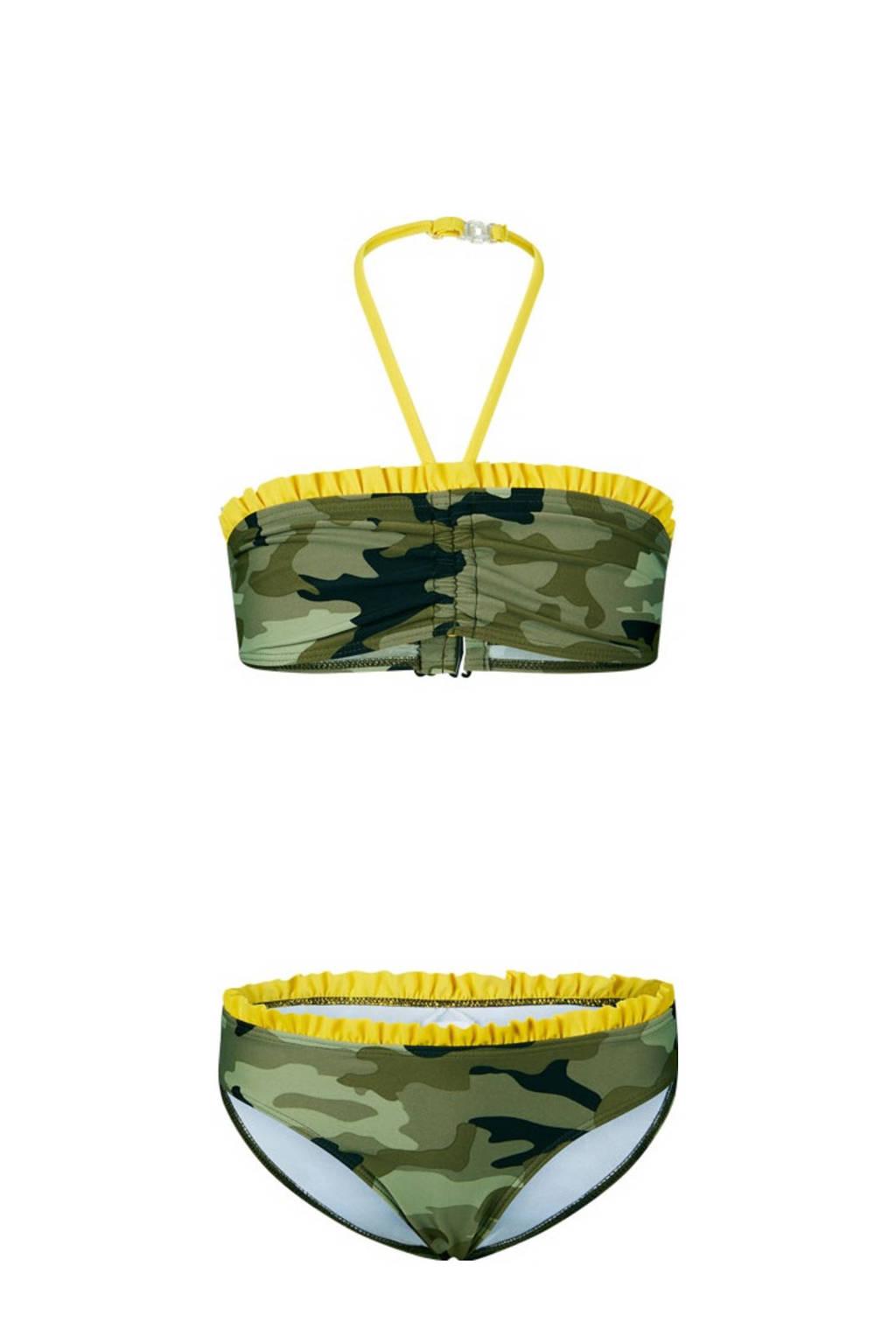 Retour Denim bandeau bikini Elisa met camouflage print groen/geel/zwart, Groen/geel/zwart