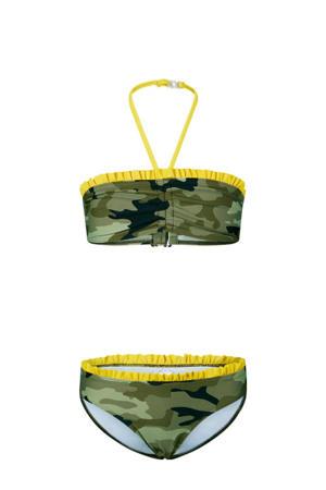 bandeau bikini Elisa met camouflage print groen/geel/zwart