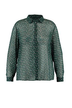 semi-transparante blouse met hartjes groen