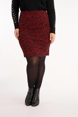 rok met panterprint zwart/rood