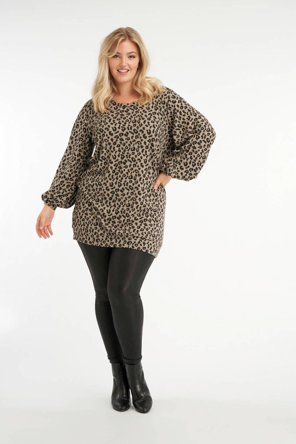 MS Mode trui met panterprint beige/zwart, Beige/zwart