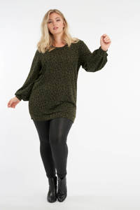 MS Mode trui met panterprint donkergroen/zwart, Donkergroen/zwart