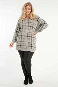 MS Mode geruite sweater grijs melange/zwart, Grijs melange/zwart