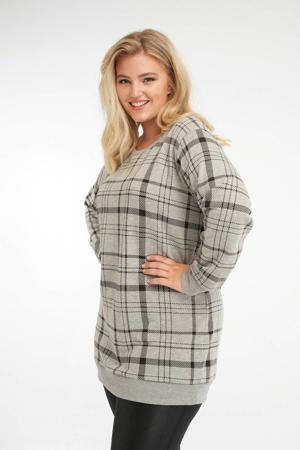 geruite sweater grijs melange/zwart