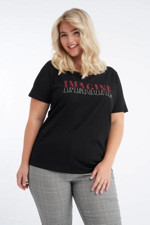 T-shirt zwart/rood/zilver
