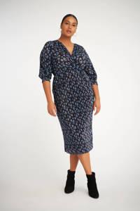 MS Mode gebloemde semi-transparante jurk zwart/blauw, Zwart/blauw