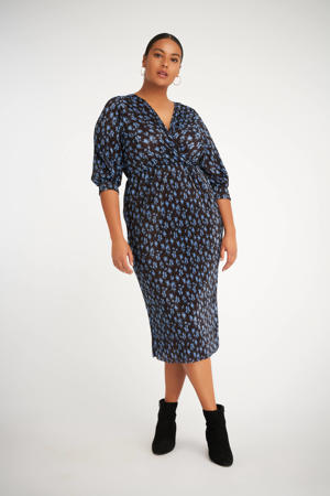 gebloemde semi-transparante jurk zwart/blauw