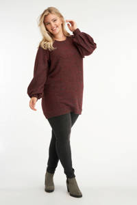 MS Mode gemêleerde trui donkerrood, Donkerrood